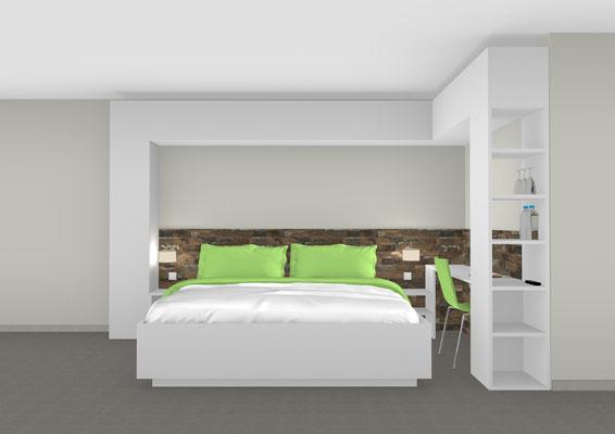 Komplette Zimmereinrichtung-auch mit Einzelbett lieferbar. Lieferbar in jeder anderen Abmessung, Ausführung und Oberfläche.