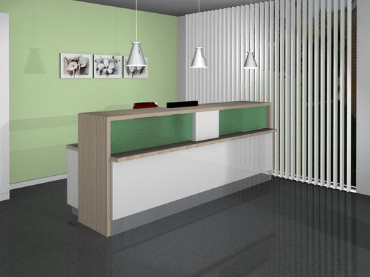 Empfangstresen mit Arbeitsplatz und zurückliegender beleuchteter Glasflächen. - Lieferbar in jeder anderen Abmessung, Ausführung und Farbkombination möglich.