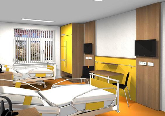 Patientenzimmer werden nach Wunsch des Auftraggeber gestaltet