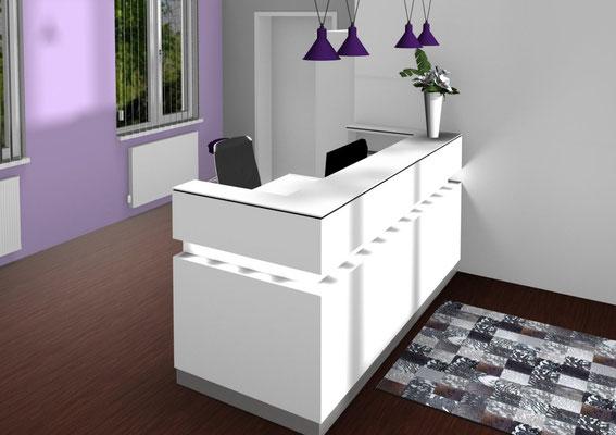Moderner Tresen in Weiß hochglanz mit optisch schwebendem Aufsatz und Lichtring - Lieferbar in jeder anderen Abmessung, Ausführung und Oberfläche