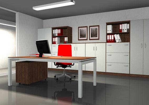 Moderne Arbeitsplatzkombination - Tischplatte schwebend