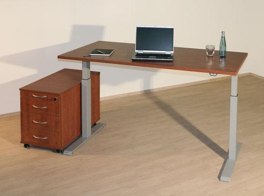 Elektrisch höhenverstellbarer Schreibtisch mit Rollcontainer