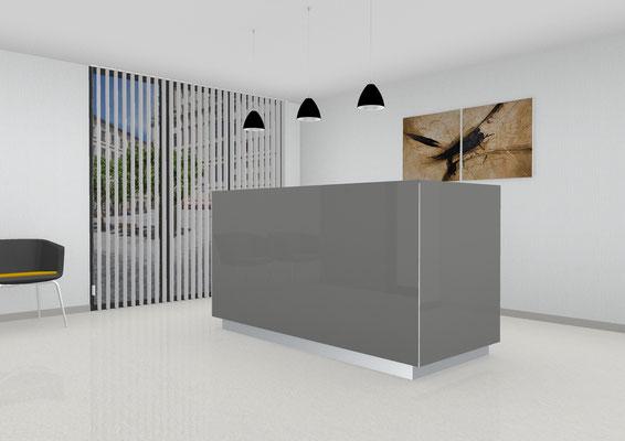 Eleganter Empfangstresen als Anlaufstation mit integrierten Arbeitsplatz. Lieferbar in jeder anderen Abmessung, Ausführung und Oberfläche.