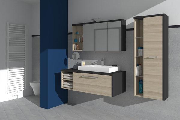 Schrankkombination im Badbereich - Lieferbar in jeder anderen Abmessung, Ausführung und Oberfläche