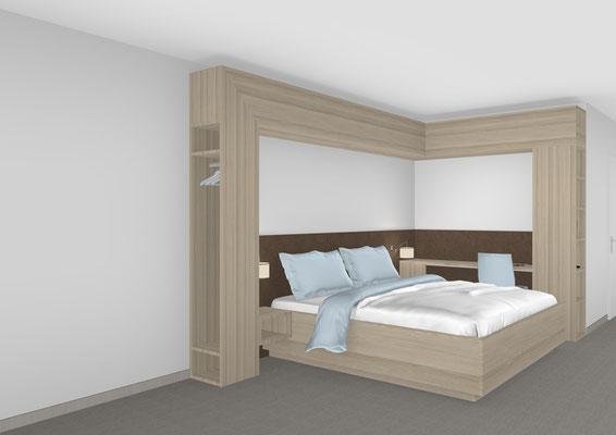Rehazimmereinrichtung mit Umbau und Schreibtisch Lieferbar in jeder anderen Abmessung, Ausführung und Oberfläche.