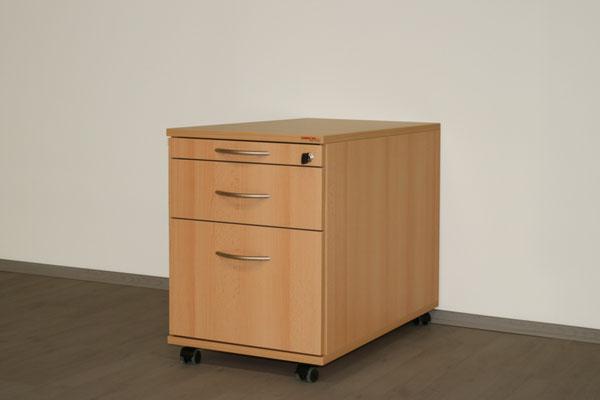 Rollcontainer 1/3/6 -800mm tief - lieferbar in: weiß, weißgrau, lichtgrau, beige (Vanille), Ahorn, Akazie, Buche, Kirsche //ab € 359.--