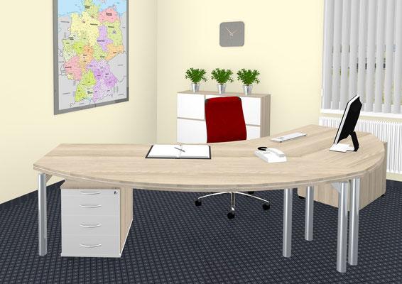 Freiformarbeitsplatz mit Sandwichtischplatte Akazie- schwebende Tischbeine Druckeransatz und Rollcontainer Schrankeinheit mit quadratischen Türelementen – schweb