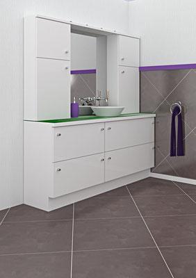 Schrankkombination mit Waschschüssel im Sprechzimmer - Lieferbar in jeder anderen Abmessung, Ausführung und Oberfläche