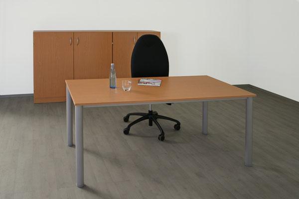 Schreibtisch 1600x800x735 Beine rund 60mm - lieferbar in: weiß, weißgrau, lichtgrau, beige (Vanille), Ahorn, Akazie, Buche, Kirsche //ab € 199.--