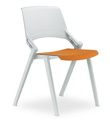 Vollkunststoffstuhl mit elastischem Rückenteil. Vorrätig in lichtgrau und anthrazit. Aufrüstbar mit Armlehnen und abnehmbaren Sitzkissen//ab €101.--