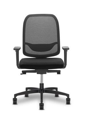 Bürodrehstuhl der alle Ansprüche erfüllt. Vorrätig in schwarz mit Netzrücken und Armlehnen. Aufrüstbar mit farbigen Sitzbezug in vielen Farben // ab € 235.--