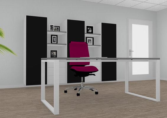 Schreibtisch mit schwebender Multiplextischplatte und Schrankeinheit. Lieferbar in jeder anderen Abmessung, Ausführung und Oberfläche.