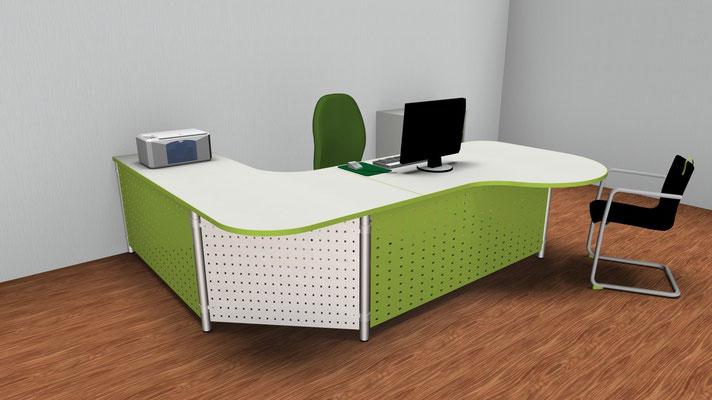 Tischkombination mit Farbelemente in Firmenhausfarbe