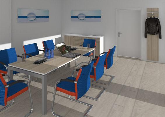 Neuzeitlicher Besprechungsraum in Kombination unterschiedlichster Oberflächen. - Lieferbar in jeder anderen Abmessung, Ausführung und Farbkombination möglich.