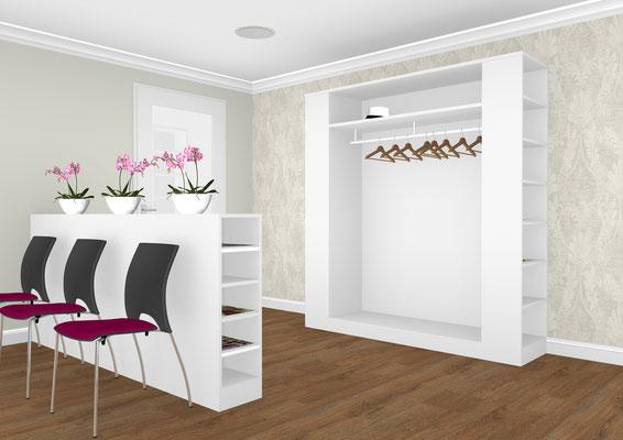 Gestaltung eines Wartebereiches mit Garderobenteil - Lieferbar in jeder anderen Abmessung, Ausführung und Oberfläche