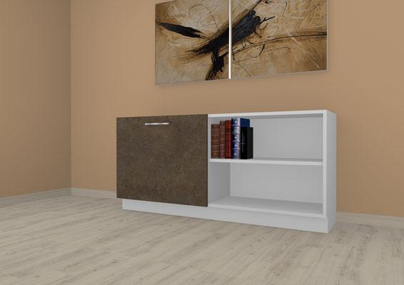 Sideboard mit Schiebelement im Flurbereich. Lieferbar in jeder anderen Abmessung, Ausführung und Oberfläche.