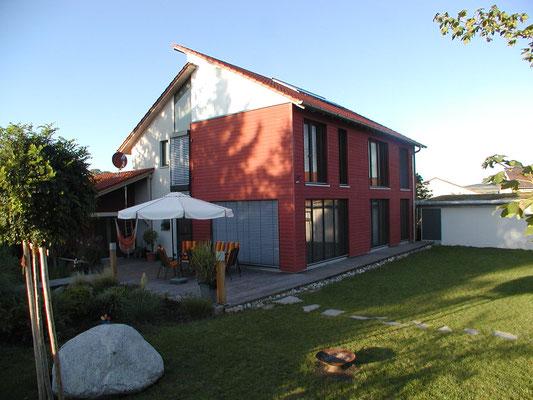 Plusenergie-/Passivhaus Willanzheim- Südwest-Ansicht