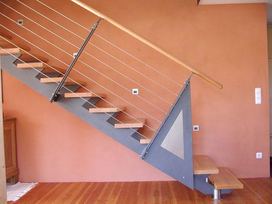 Plusenergie-/Passivhaus Willanzheim - Detail der Stahltreppe