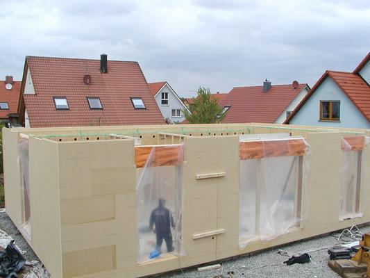 Passivhaus Kürnach in der Bauphase