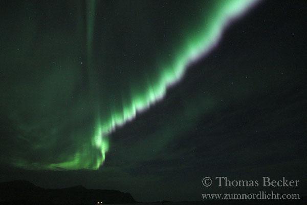 Das Nordlicht während seiner stärksten Aktivität.