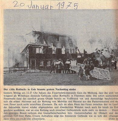 """GAIS - 20. Januar 1975 - Brand unseres Hauses """"Altes Bad"""" (Familie Manser)"""