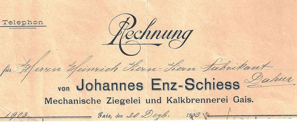 GAIS - alte Rechnung 1903