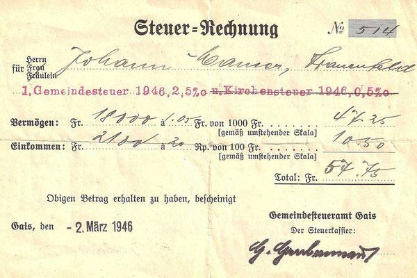 GAIS - Steuerrechnung 1946