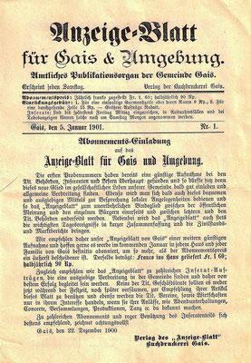 GAIS - Anzeige-Blatt für Gais und Umgebung - 5. Januar 1901