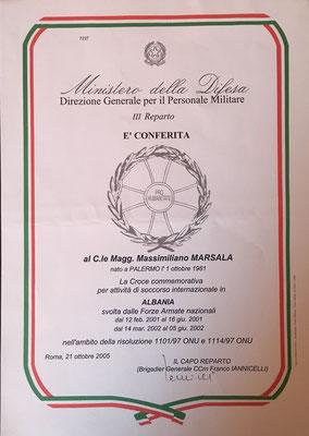 massimiliano marsala croce commemorativa