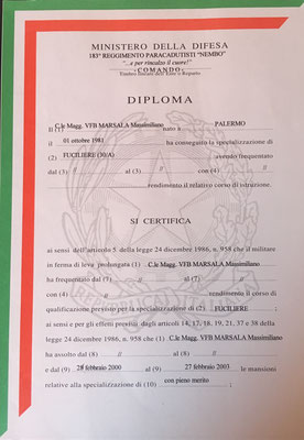 diploma fuciliere assaltatore massimiliano marsala