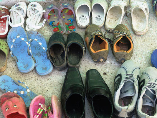 Children's shoes in front of the education center in Preoce, Gracanica