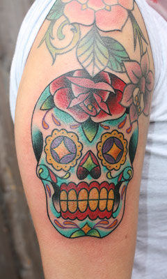 Dia de los Muertos tätowiert von Burns Seiken bei TNT in Marl  Tattoo done by Burns Seiken