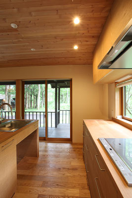 キッチンに立ってテラスを見る。キッチン側のテラスは奥行きが広くなっている。