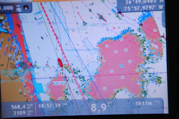 Radarbild. Das große rote Gebiet ist eine Gewitterfront