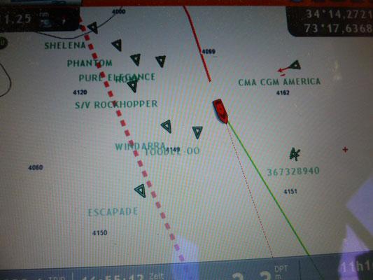 Treffen auf der Ostseite des Golfstroms. Ganz links ein Frachter, der gen Westen will...