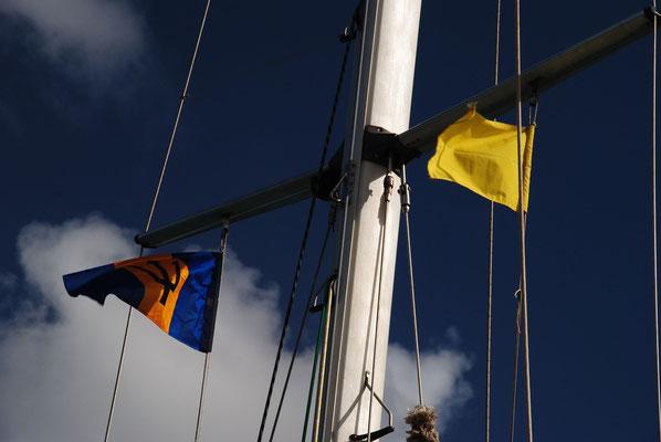 Einklarieren, die Gastlandflagge und die Quarantäneflagge