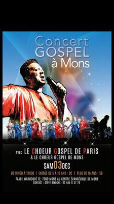 Soirée Gospel riche en couleurs et en émotions à Mons ce samedi 03 décembre 2016 au Centre évangélique de Mons,