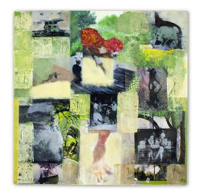 # 150 NOW  Es kann fast alles Tanz sein, man muss erst wieder etwas anderes lernen, dann kann man vielleicht wieder tanzen (Pina Bausch), Collage auf Leinwand 60 cm x 60 cm, 2016