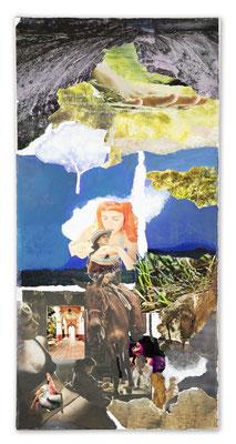 # 147 WAIT A MINUTE Wenn es nicht den gewissen Schwung hat, bedeutet es überhaupt nichts (Duke Ellington/irving Mills) Collage auf Leinwand 30cm x 60 cm, 2017