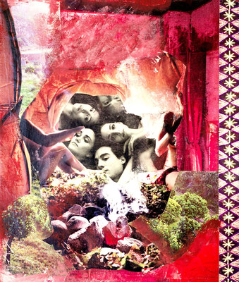 # 152 LIVING IN BALANCE earth my body, water my blood, air my breath, fire my spirit (song), Collage auf Leinwand 30 cm x 30 cm, 2015