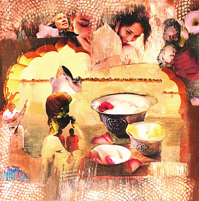 # 169 JOY, Collage auf Leinwand 50 cm x 50 cm, 2016/ VERKAUFT