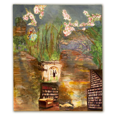 # 122 BIG ISLAND ROADS  Die treeroads von Big Island wirken wie Tunnels voller Leben und Geschichten, Collage auf Leinwand  50 cm x 70 cm, 2015