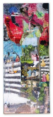 # 161 SINGAPORE  Collage auf Leinwand 120 cm x 50 cm, 2018/ VERKAUFT