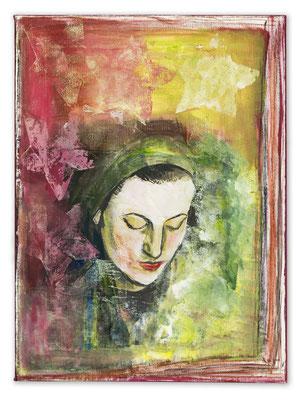 # 148 EMOTIONS Finger weg von meiner Seifenblase (pinterest) Collage auf Leinwand 60 cm x 30 cm, 2015