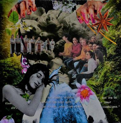 #164 LISTEN, Collage auf Leinwand, 30 cm x 30 cm, 2019