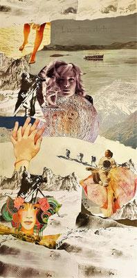 # 115 ES GIBT VIEL ZU SEHEN, Collage auf Leinwand 50 cm x 100 cm, 2019