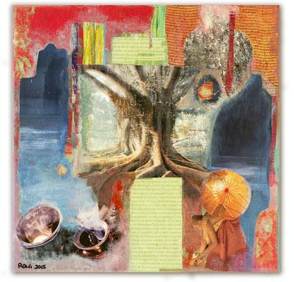 # 154 BODHITREE, Collage auf Leinwand 40 cm x 40 cm, 2015