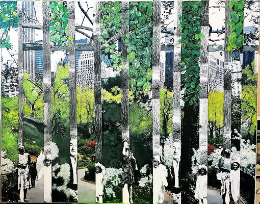# 116 CENTRAL PARK New York is not a city its a world (Iman) Collage auf Leinwand 100 cm x 50 cm, 2018