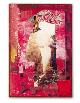 # 166 MY HEART IS IN HAVANA, Collage auf Leinwand 30 cm x 30 cm, 2015/VERKAUFT