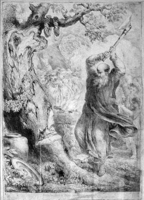 Bonifatius fällt die Donareiche, Radierung von Bernhard Rode, 1721. Quelle: Wikipedia